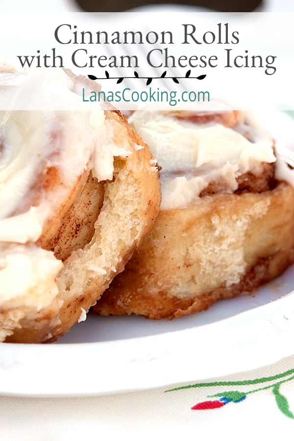 These homemade Cinnamon Rolls with Cream Cheese Icing are almost identical to the famous brand you buy at the mall. From @NevrEnoughThyme https://www.lanascooking.com/cinnamon-rolls-with-cream-cheese-icing/