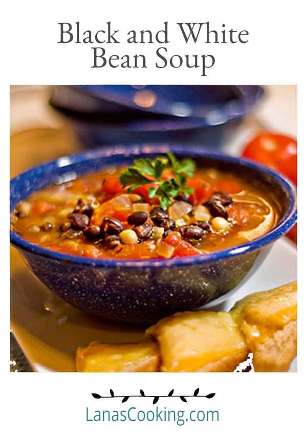 Black and White Bean Soup - Black and navy beans combined in a beefy, tomato broth for a substantial dinner soup. From @NevrEnoughThyme https://www.lanascooking.com/black-white-bean-soup