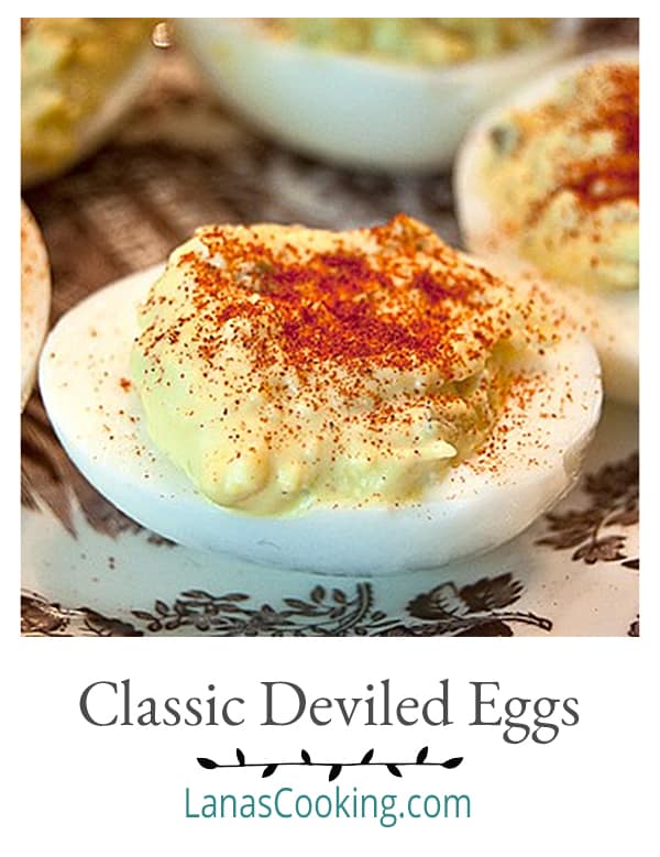 A classic Deviled Eggs recipe with a touch of mustard and sweet pickle relish. A must have for your Easter dinner. From @NevrEnoughThyme https://www.lanascooking.com/deviled-eggs/