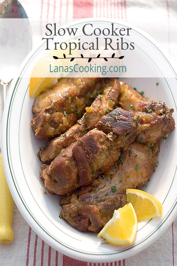 These Slow Cooker Tropical Ribs with their citrus-based sauce are a delicious change of pace. Cooked low and slow for maximum tenderness. From @NevrEnouighThyme https://www.lanascooking.com/slow-cooker-tropical-ribs/