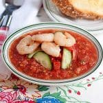 Gazpacho and Garlic Shrimp with Cheese Toasts