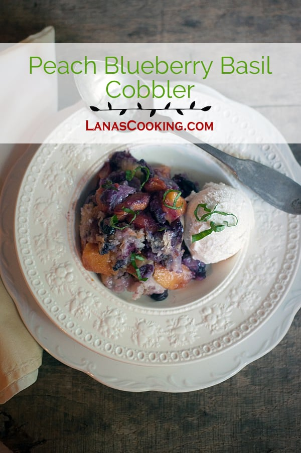Try this Peach Blueberry Basil Cobbler for a lovely change of pace! From @NevrEnoughThyme https://www.lanascooking.com/peach-blueberry-basil-cobbler/