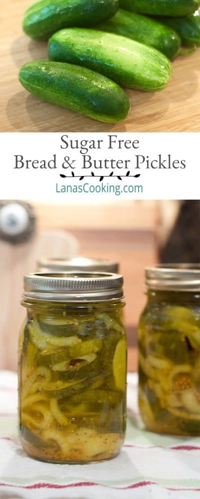 Sugar-free bread and butter pickles using sugar substitute. A combination of cucumbers and onions in a tangy pickling solution. From @neverenoughthyme https://www.lanascooking.com/sugar-free-bread-and-butter-pickles/