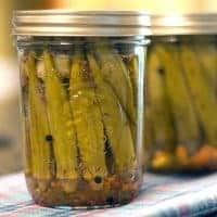 Enjoy a little taste of summer all year. Make your own Pickled Okra with tender young pods of okra preserved in a brine with garlic, dill, and peppercorns. From @NevrEnoughThyme https://www.lanascooking.com/pickled-okra/