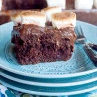 Chocolate Marshmallow Poke Cake