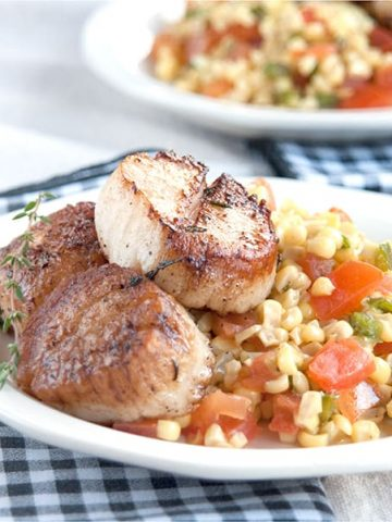 Fresh Florida sweet corn is so versatile. Serve it boiled, steamed, or microwaved or in recipes like this Sweet Corn Salad with Seared Sea Scallops. From @NevrEnoughThyme https://www.lanascooking.com/sweet-corn-salad-seared-sea-scallops/