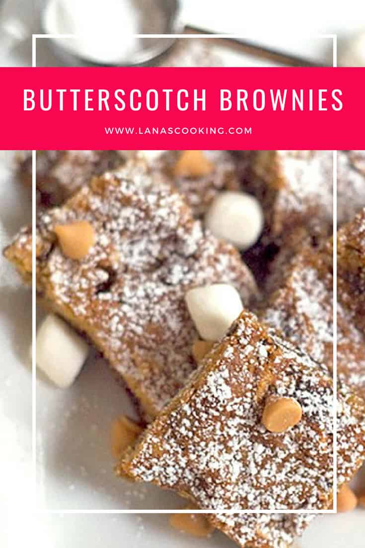 A recipe for butterscotch brownies with chocolate chips, pecans, and marshmallows. From @Nevrenougthyme https://www.lanascooking.com/butterscotch-brownies/