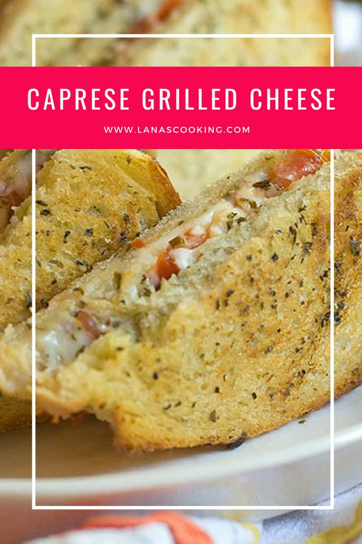 All the ingredients of a caprese salad in a sandwich! Caprese Grilled Cheese from @NevrEnoughThyme http://www.lanascooking.com/caprese-grilled-cheese/