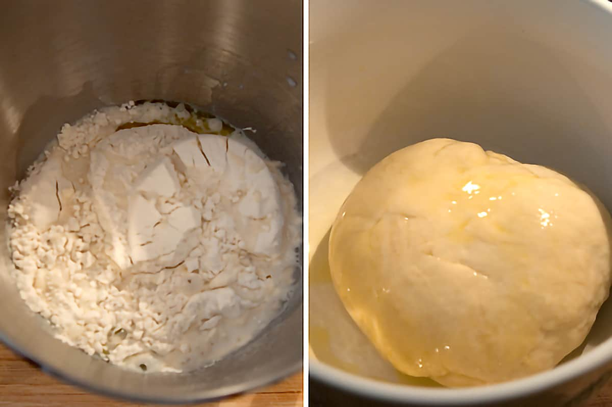 Left: Ingredients in a large mixing bowl; Right: Finished ball of dough resting in large mixing bowl