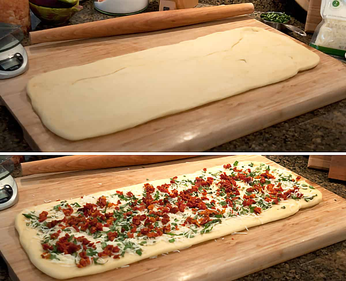 Top: 22 inch by 8.5 inch rectangle of dough; Bottom: Dough rectangle with filling ingredients evenly sprinkled over.