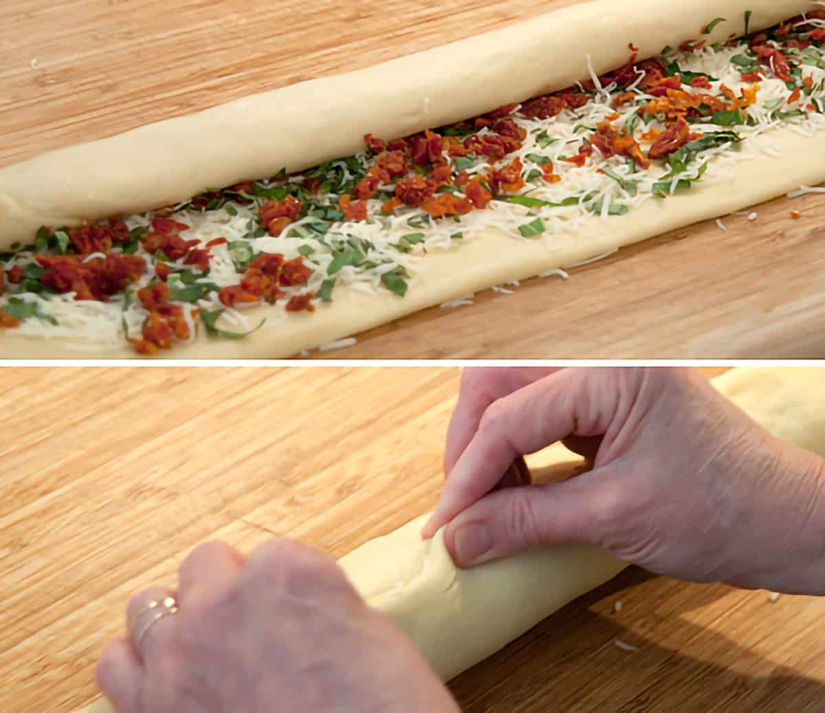 Filled rectangle of dough being rolled into a cylinder and sealed along the edge.