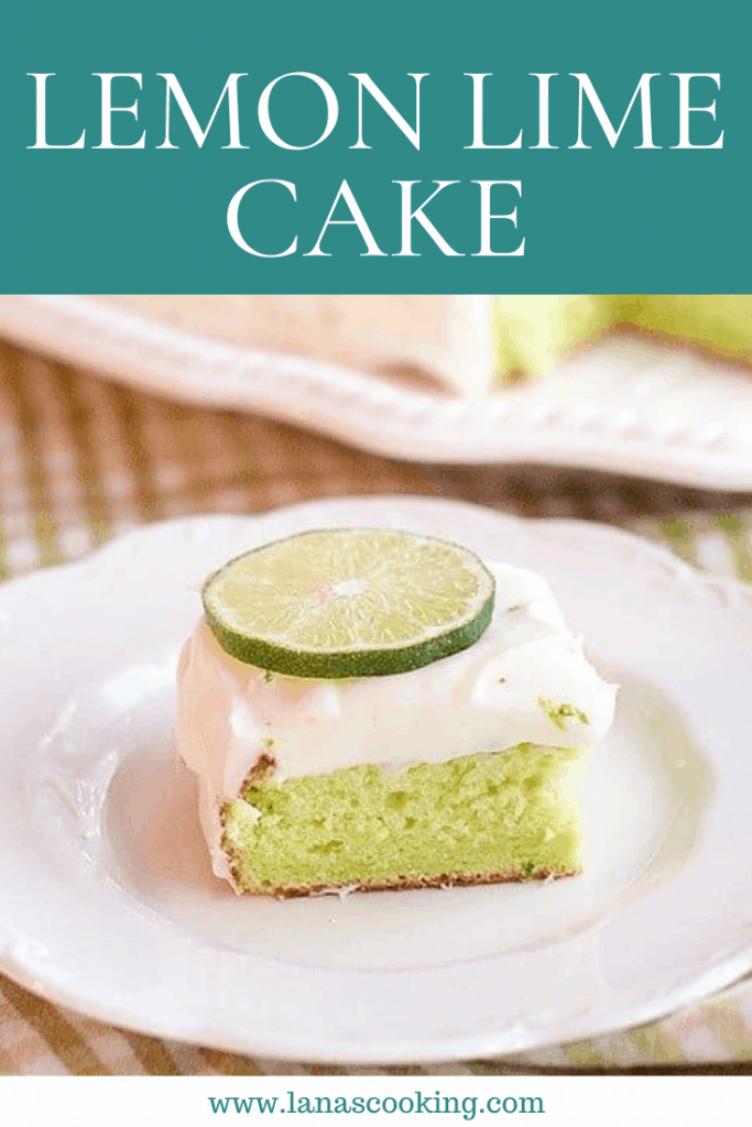 A vintage Lemon Lime Cake made with a boxed cake mix combined with jello for a quick and easy citrusy dessert. From @NevrEnoughThyme https://www.lanascooking.com/lemon-lime-cake