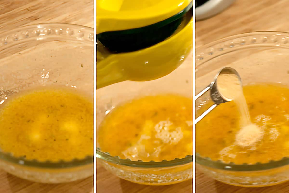Small bowl containing a mixture of melted butter, lemon juice and garlic powder