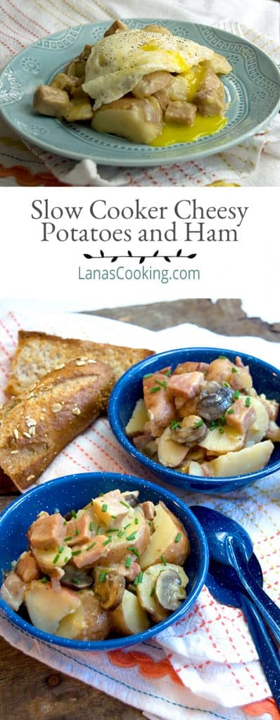 Slow Cooker Cheesy Potatoes and Ham is a delectable recipe made easily with a slow cooker. From @NevrEnoughThyme https://www.lanascooking.com/slow-cooker-cheesy-potatoes-and-ham/