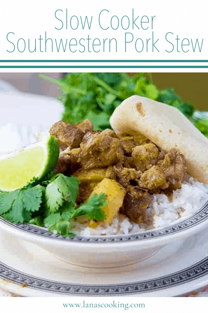 Pork, potatoes, and salsa verde make this delicious Slow Cooker Southwestern Pork Stew a Tex-Mex delight! From @NevrEnoughThyme https://www.lanascooking.com/slow-cooker-southwestern-pork-stew
