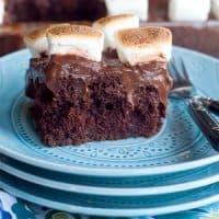 Chocolate Marshmallow Poke Cake