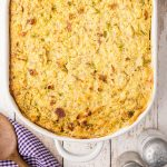 Southern Cornbread Dressing in a white baking dish.