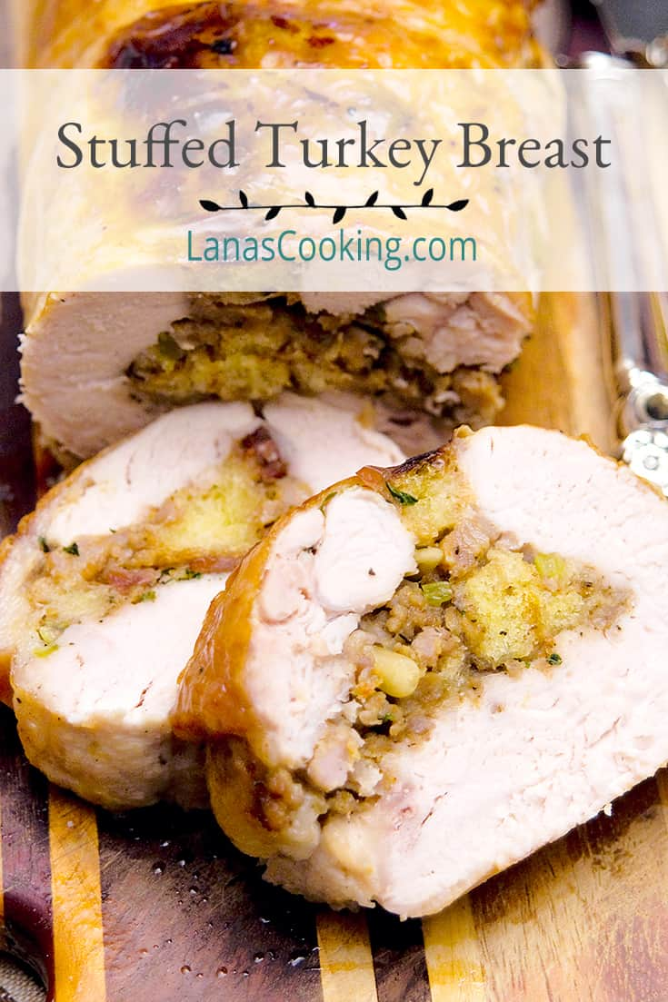 Sliced stuffed turkey breast on a serving tray; text overlay for pinning.