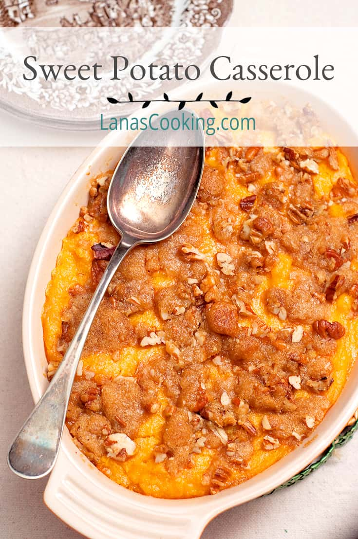 Sweet Potato Casserole in a serving dish with vintage serving spoon. Text overlay for pinning.