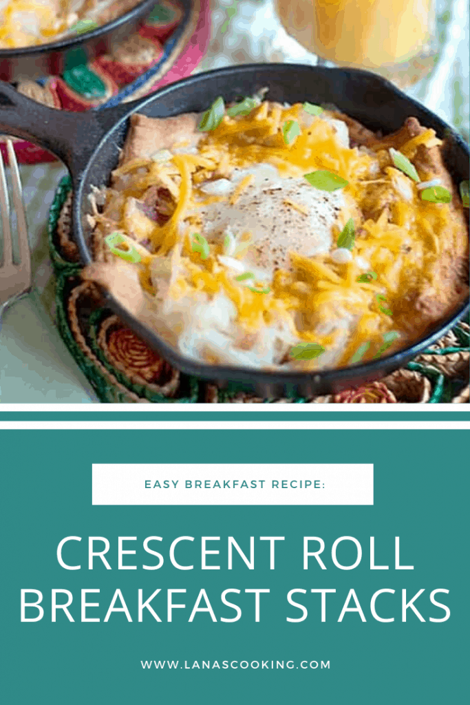 Crescent Roll Breakfast Stacks - a one-dish breakfast built atop refrigerated crescent rolls make a perfect breakfast or dinner for any day of the week. From @NevrEnoughThyme https://www.lanascooking.com/crescent-roll-breakfast-stacks/