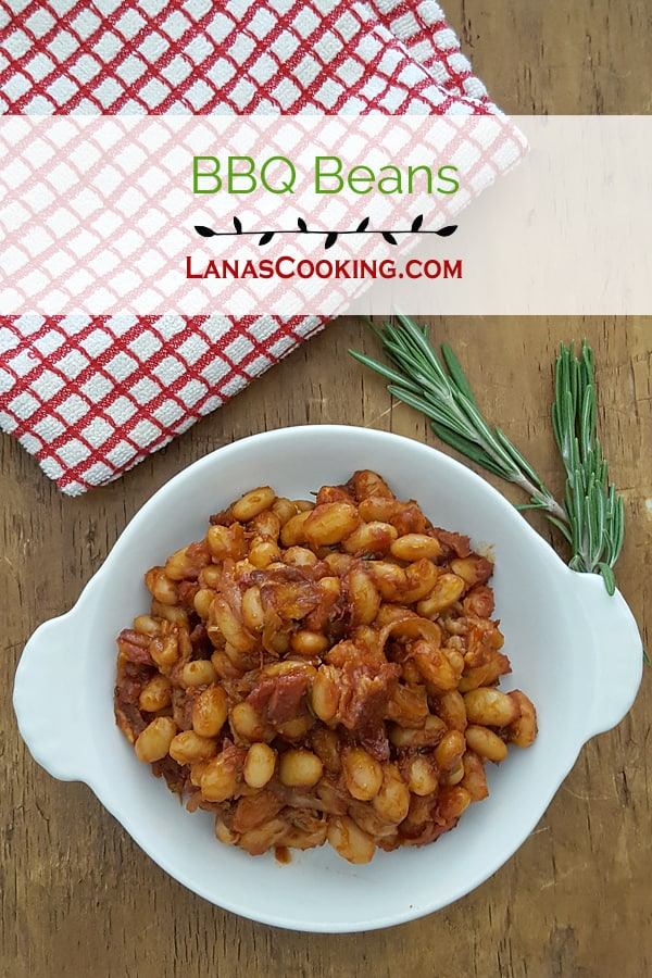 BBQ Beans - beans baked with onion, bacon, tomato sauce, and seasonings. From @NevrEnoughThyme https://www.lanascooking.com/bbq-beans/