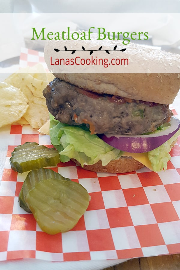 Meatloaf Burgers - a classic meatloaf mix formed into burgers and served on toasted buns. From @NevrEnoughThyme https://www.lanascooking.com/meatloaf-burgers/