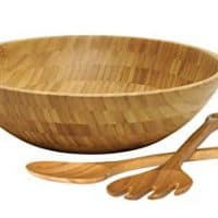 "Lipper International 8204-3 Bamboo Wood Salad Bowl with 2 Server Utensils, Large, 14"" Diameter x 4"" Height, 3-Piece Set"