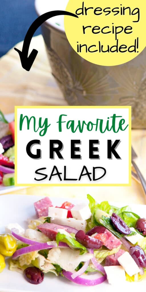 Greek Salad on a white serving plate.