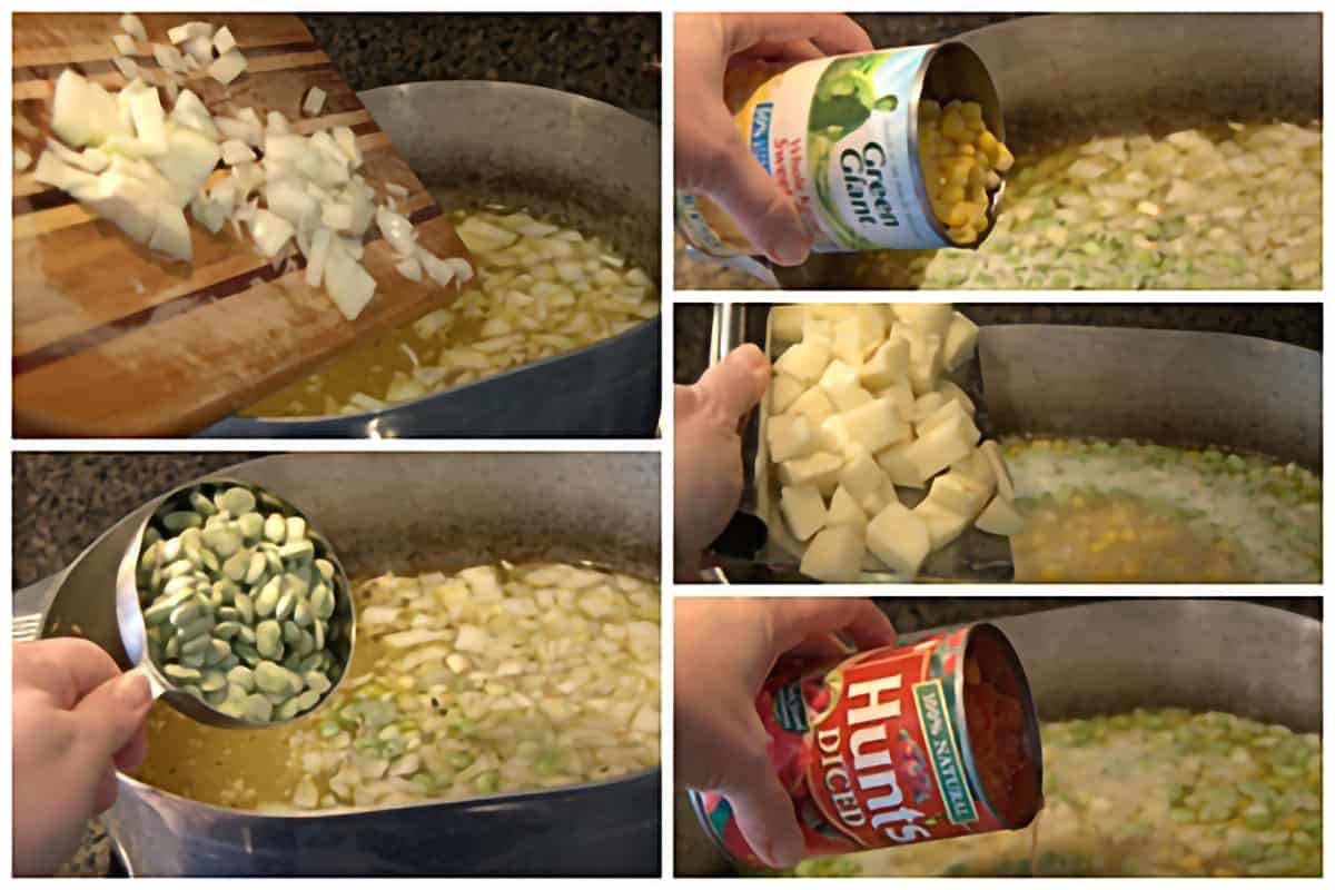 Photo collage showing remaining ingredients being added to the pot of Brunswick Stew