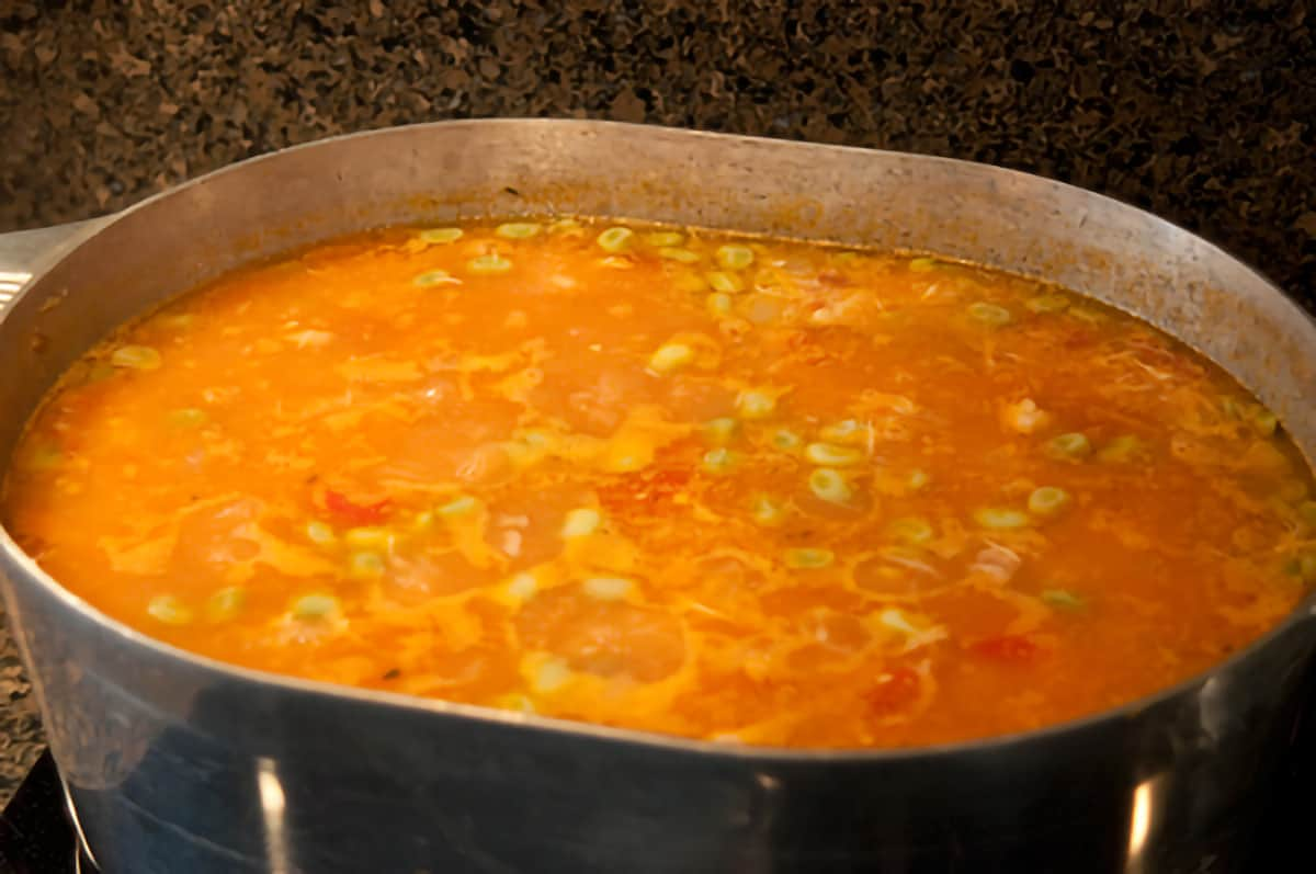 Large pot filled with simmering Brunswick Stew