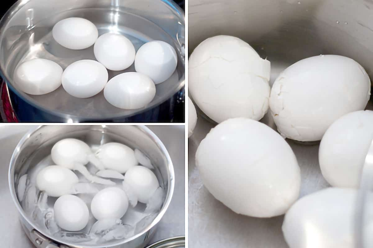 Photo collage of cooked boiled eggs and how to peel them.