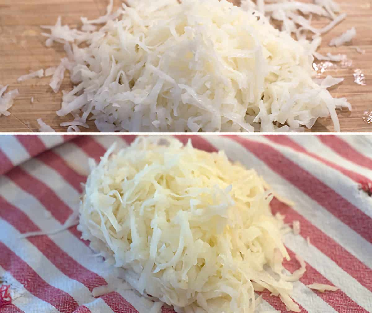 Grated and drained potatoes in a kitchen towel