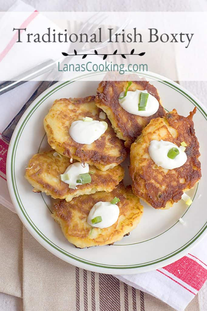 Boxty is a traditional Irish potato pancake. Serve them up hot with a dollop of sour cream and a sprinkle of green onions. From @NevrEnoughThyme https://www.lanascooking.com/boxty