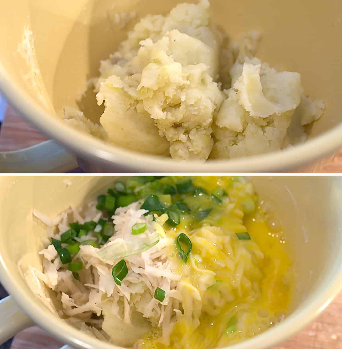 Grated potatoes, mashed potatoes, eggs, and onions in a mixing bowl