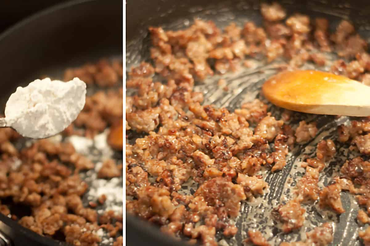 Adding flour to sausage cooking in a skillet.