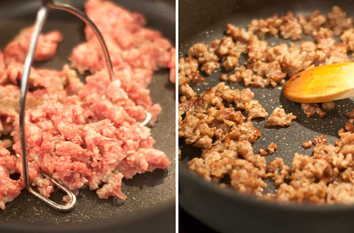 Sausage cooking in a skillet.