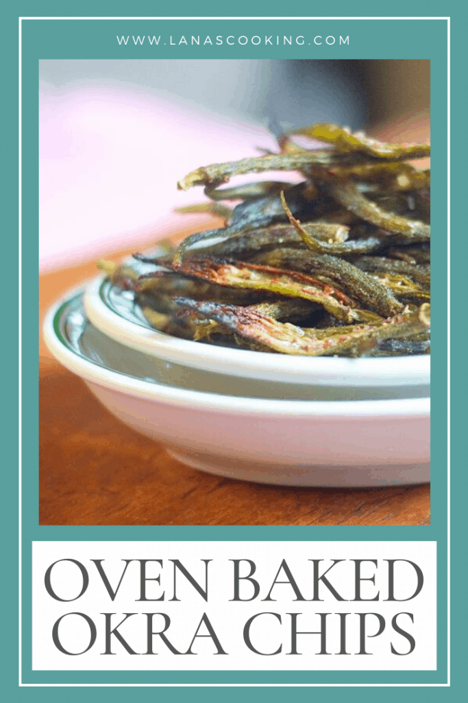 Crispy, salty, and delicious - homemade baked okra chips are roasted until light and crunchy. Great alternative to potato chips. From @NevrEnoughThyme https://www.lanascooking.com/okra-chips/
