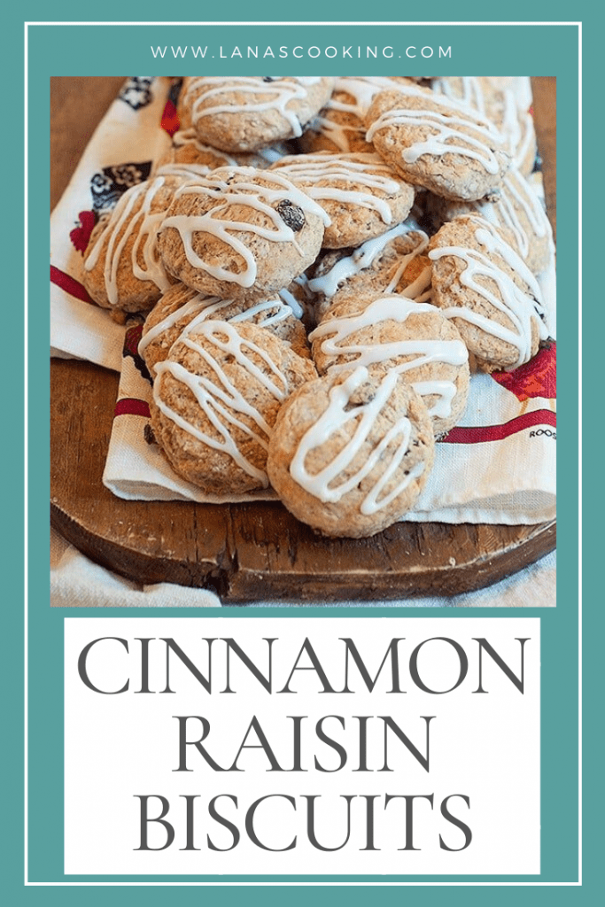 Cinnamon Raisin Biscuits - sweetened buttermilk biscuits with cinnamon and raisins. Great addition to your breakfast menu. From @NevrEnoughThyme https://www.lanascooking.com/cinnamon-raisin-biscuits-recipe/