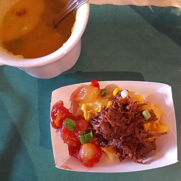 Québécois pea soup andpâté chinois at La Buche