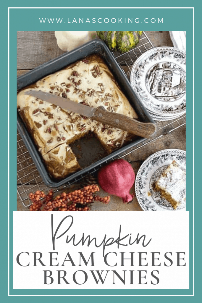 Pumpkin Cream Cheese Brownies - a cake-like pumpkin brownie with a swirled cream cheese layer. A fabulous dessert for fall dinners. From @NevrEnoughThyme https://www.lanascooking.com/pumpkin-cream-cheese-brownies/