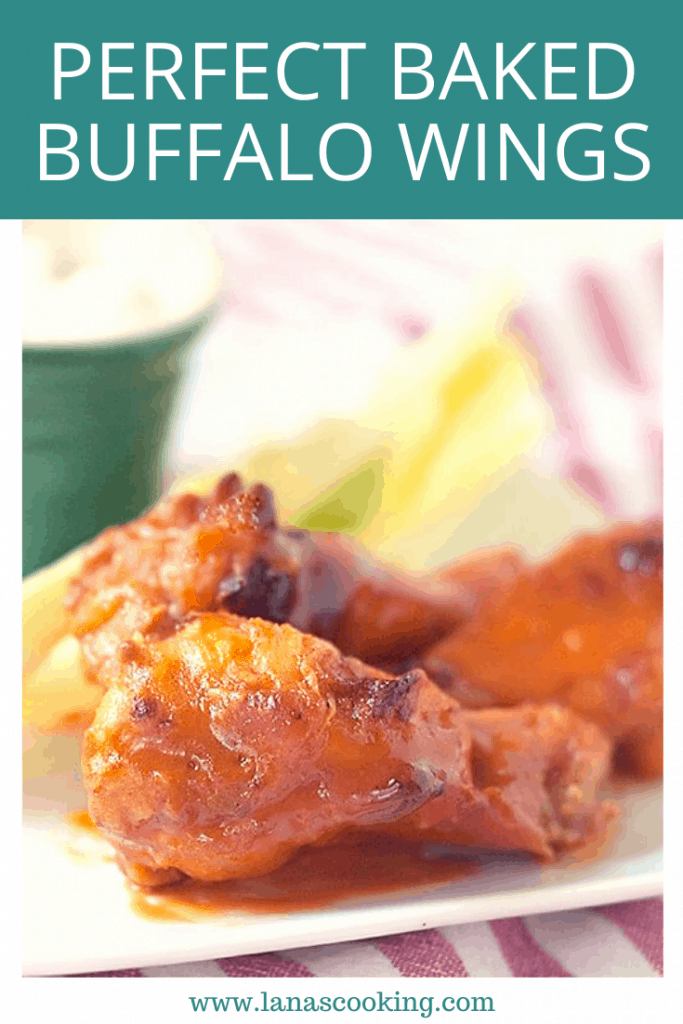 Perfect Baked Buffalo Wings - these baked Buffalo wings have the classic taste without any of the frying. From @NevrEnoughThyme https://www.lanascooking.com/baked-buffalo-wings/
