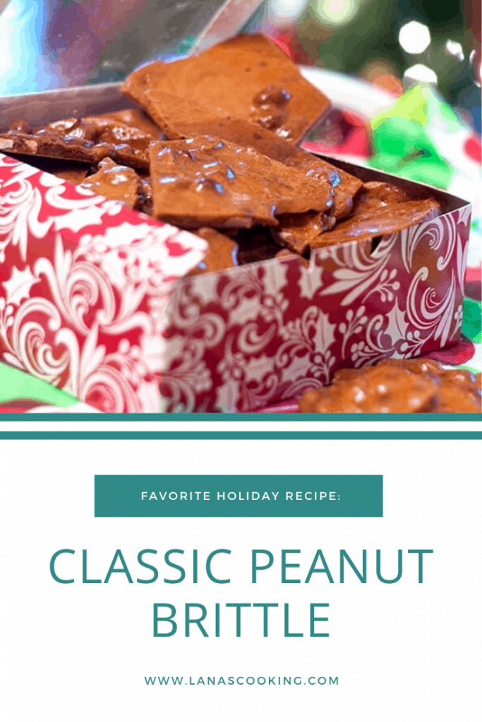 Classic Peanut Brittle with salty, roasted peanuts suspended in a sweet sugary brittle. Always a part of our Christmas holidays. From @NevrEnoughThyme https://www.lanascooking.com/classic-peanut-brittle