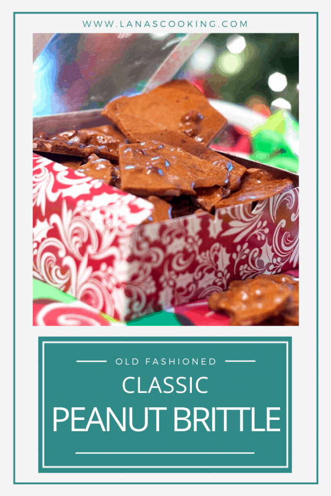 Classic Peanut Brittle with salty, roasted peanuts suspended in a sweet sugary brittle. Always a part of our Christmas holidays. https://www.lanascooking.com/classic-peanut-brittle