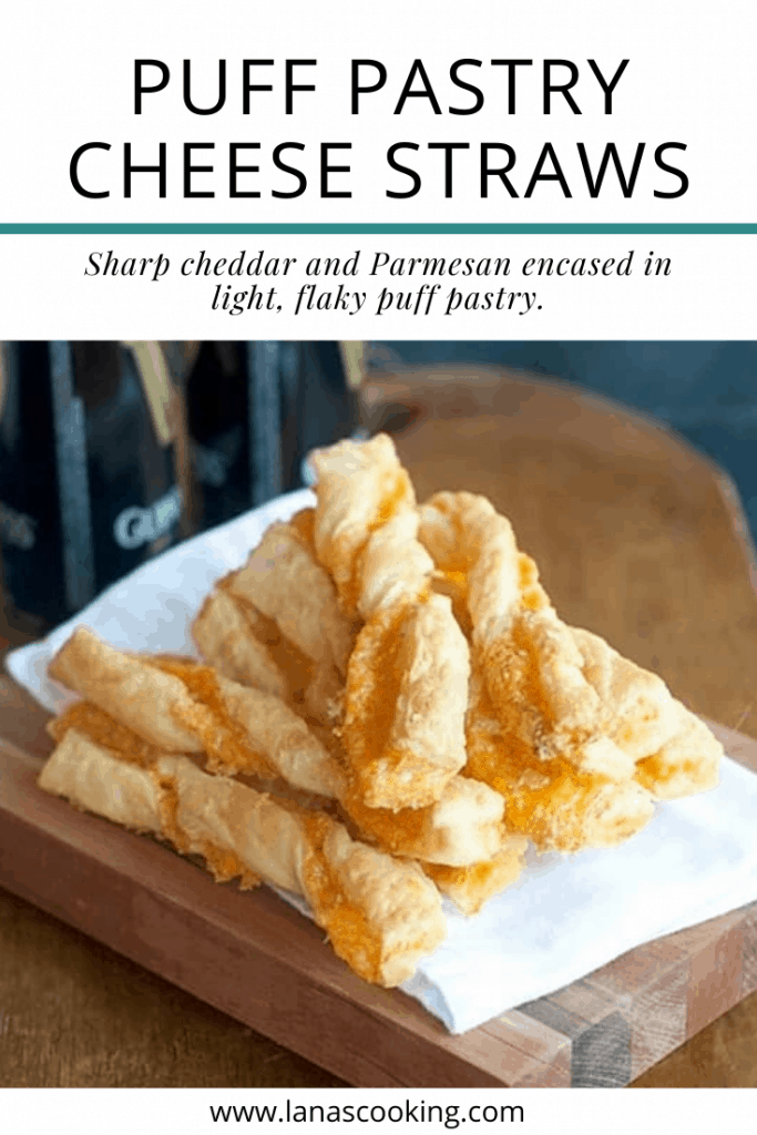Recipe for the famous Rich's Department Store (Atlanta) Puff Pastry Cheese Straws. Sharp cheddar and Parmesan encased in light, flaky puff pastry. From @NevrEnoughThyme https://www.lanascooking.com/puff-pastry-cheese-straws/