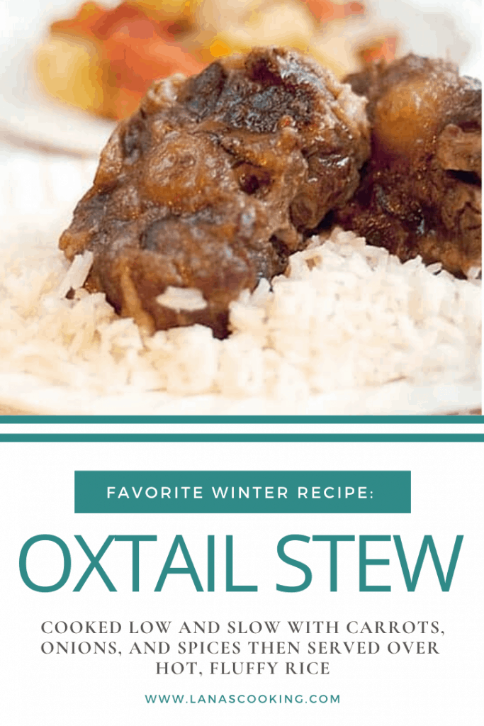 My Oxtail Stew is cooked low and slow with carrots, onions, and spices then served over hot, fluffy rice. From @NevrEnoughThyme https://www.lanascooking.com/oxtail-stew