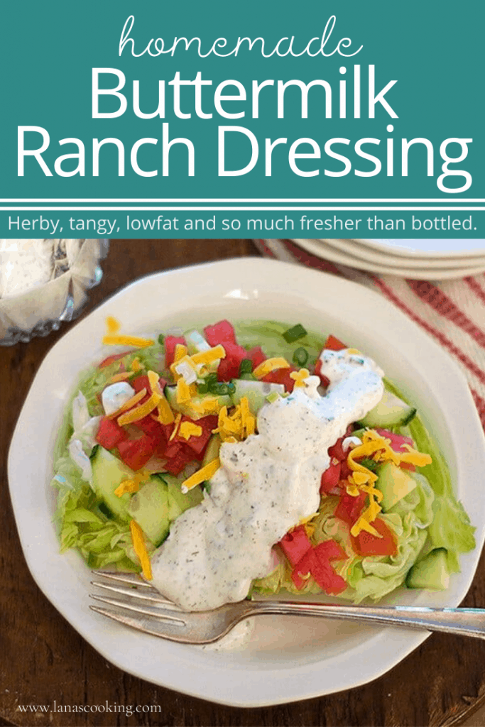 Make your own homemade Buttermilk Ranch Dressing. It's herby, tangy, lowfat and so much fresher than bottled. Great for salads and dips. From @NevrEnoughThyme https://www.lanascooking.com/buttermilk-ranch-dressing/