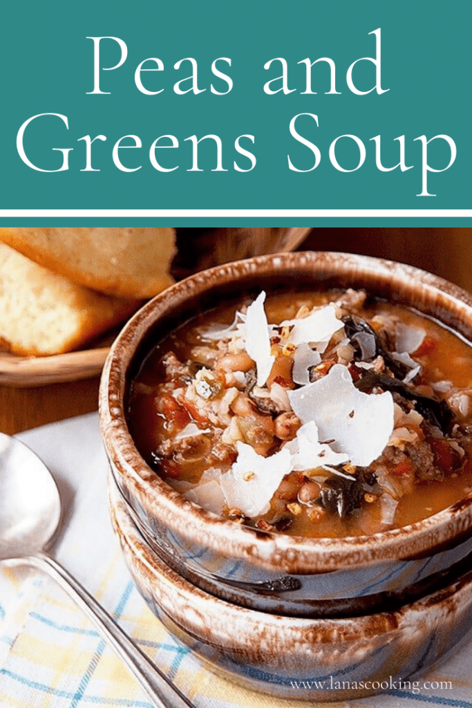 Peas and Greens Soup - a soup that combines the classic elements of Southern Hoppin' John with lots of fresh spinach. From @NevrEnoughThyme https://www.lanascooking.com/peas-and-greens-soup