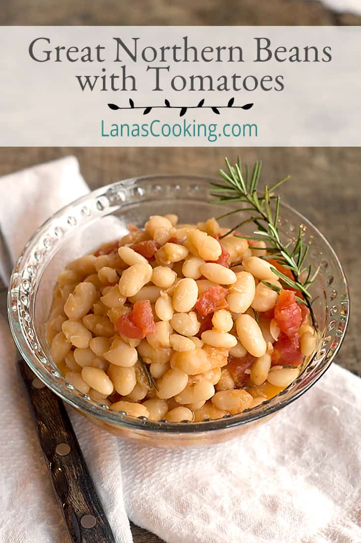 Great Northern Beans with Tomatoes is a delicious and budget-friendly side or main dish.  From @NevrEnoughThyme https://www.lanascooking.com/great-northern-beans-tomatoes