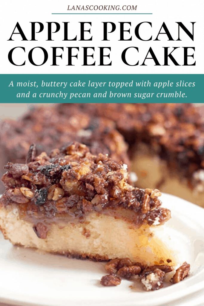 This Apple Pecan Coffee Cake has a moist, buttery cake layer topped with apple slices and a crunchy pecan and brown sugar crumble. From @NevrEnoughThyme https://www.lanascooking.com/apple-pecan-coffee-cake/