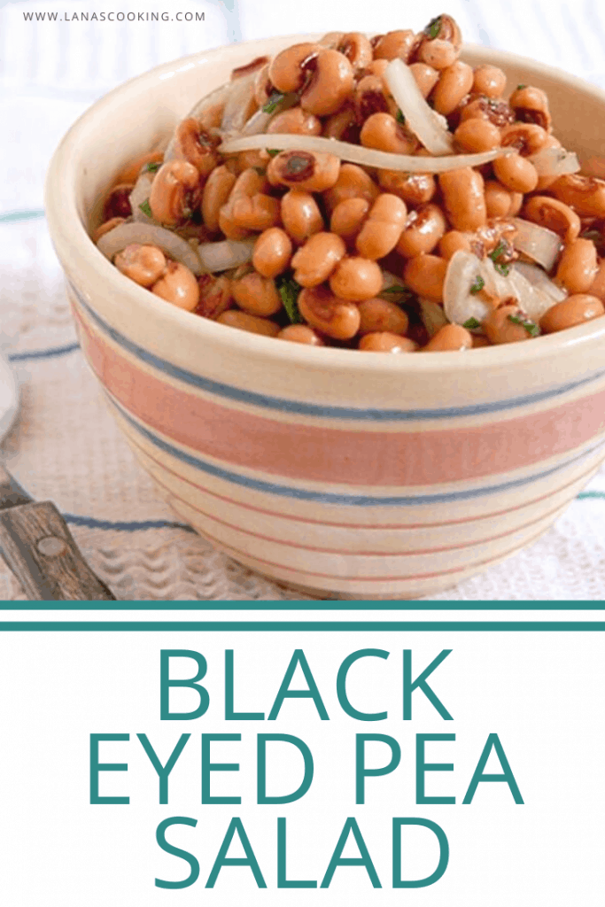 This Black Eyed Pea Salad combines canned peas with sliced onions in a sweet, tangy marinade. Great all-year round side dish. From @NevrEnoughThyme https://www.lanascooking.com/black-eyed-pea-salad/